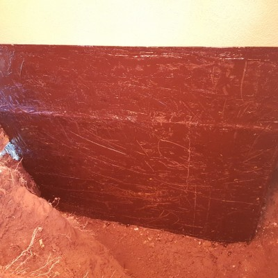 Heat foundation and 1st waterproofing coating